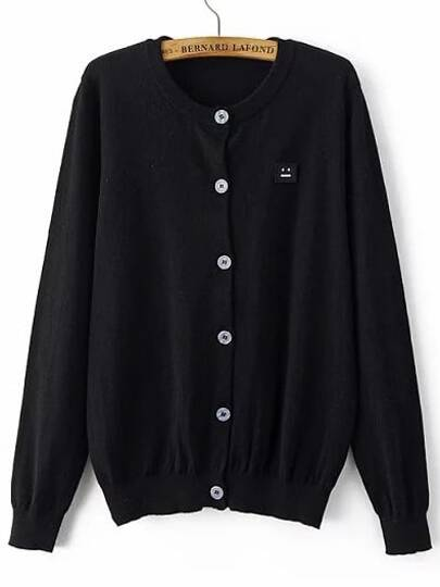 Black Single Breasted Smile Face Patch Sweater Coat