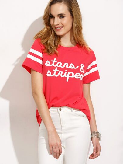 Red Letters Print Short Striped Sleeve T-shirt