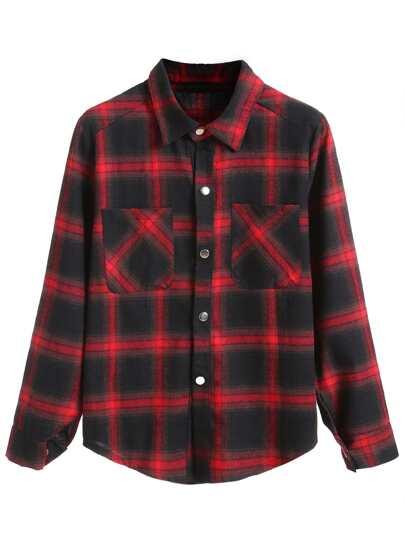 Red Black Plaid Curved Hem Shirt