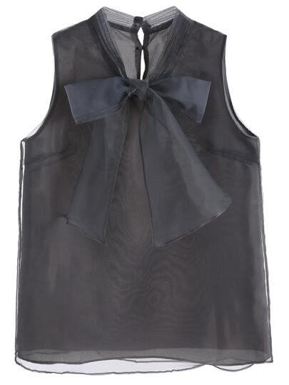 Grey Bow Button Back Sleeveless Organza Blouse