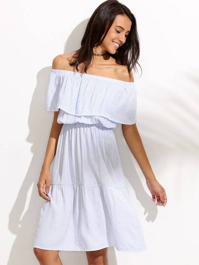 Blue Striped Off The Shoulder Dress