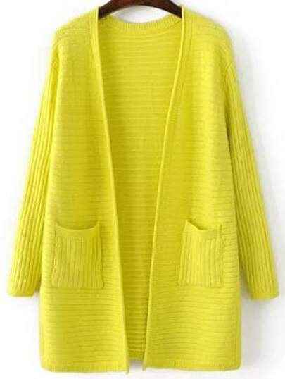 Yellow Ribbed Split Side Longline Sweater Coat With Pocket