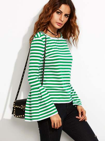 Green Striped Bell Sleeve T-shirt