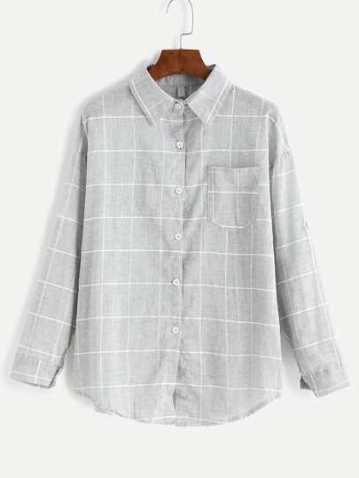 Chemise imprimé en écossais avec poche - gris