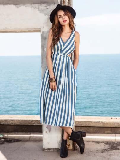 Blue Striped Sleeveless Hollow Back Midi Dress
