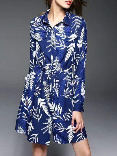 Vestido manga larga con estampado de hojas - azul