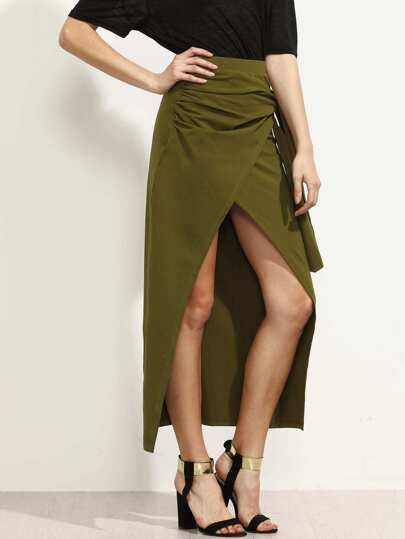 Army Green Pleated Tie Wrap Asymmetrical Skirt