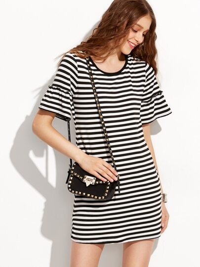 Contrast Striped Ruffle Bell Sleeve Tshirt Dress