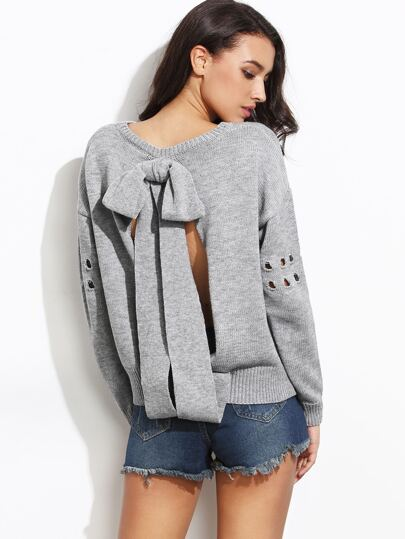 Grey Bow Tie Open Back Drop Shoulder Eyelet Sleeve Sweater