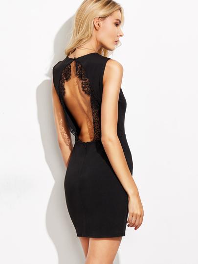 Vestido ribete de encaje espalda abierta entallado - negro