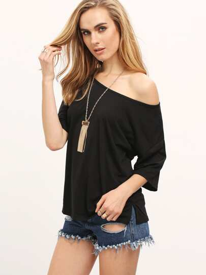 Black Split Side Loose T-shirt