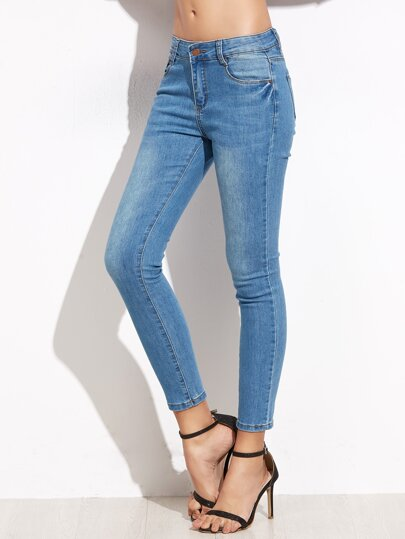 Blue Skinny Ankle Denim Jeans