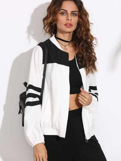Black and White Long Sleeve Zipper Outerwear