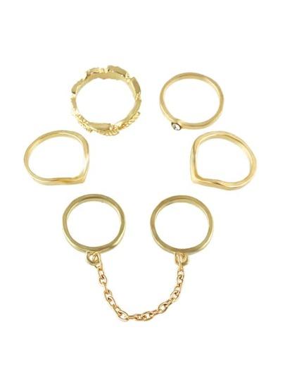 (6 Stück ein Satz) Goldfarben-Midi-Finger-Ring-Set