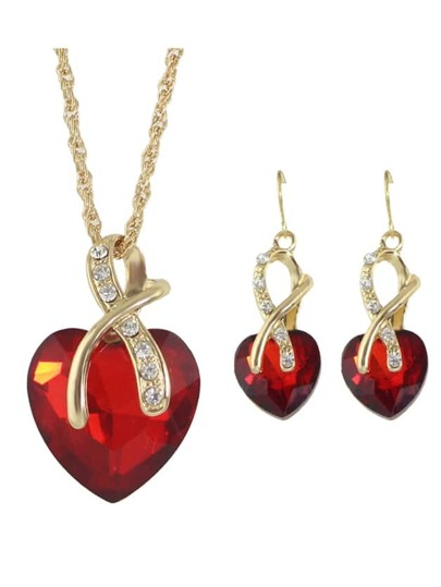 Red New Colorful Rhinestone Heart Shape Pendant Necklace Earrings Set