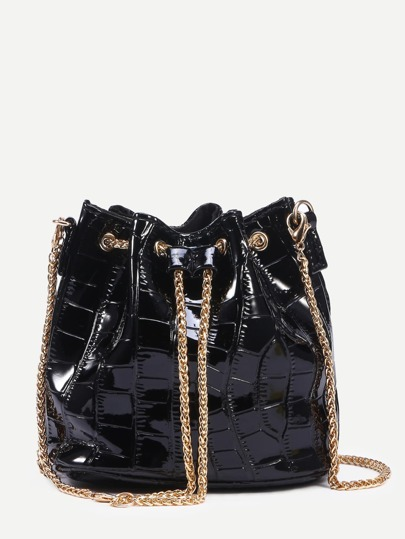 Black Crocodile Embossed Faux Patent Leather Chain Bucket Bag