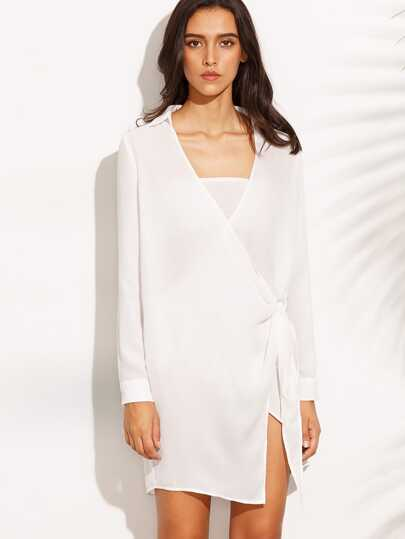 White Pointed Collar Surplice Wrap Dress
