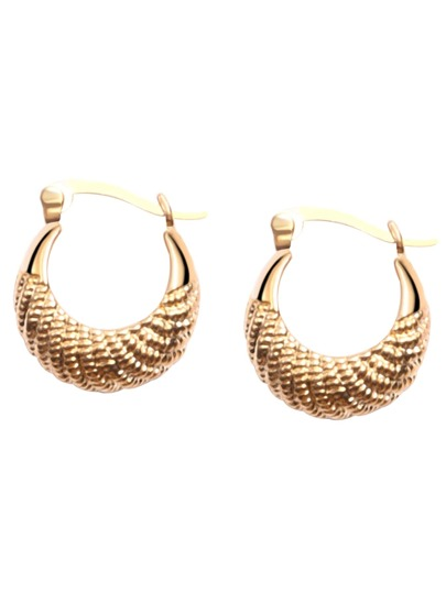 Gold Plated Spiral Carved Arc Hoop Earrings