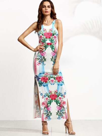 White Floral Print Sleeveless Slit Maxi Dress