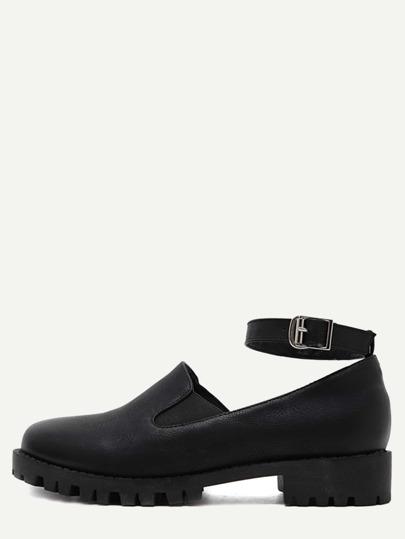 Black Faux Leather Ankle Strap Elastic Shoes