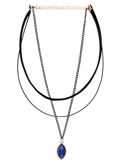 Blue Pointed Oval Faux Gem Pendant Layered Choker Necklace