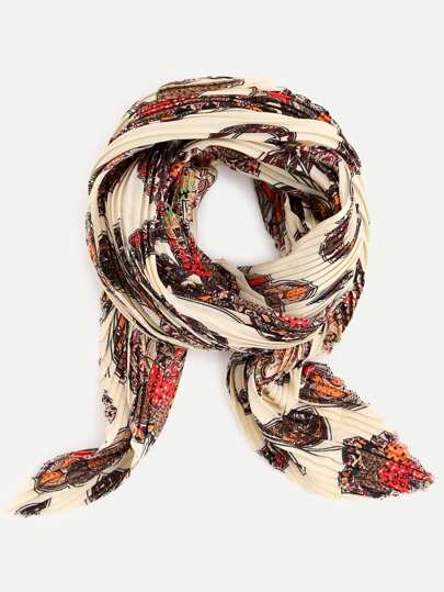 Beige Folding Print Small Square Scarf