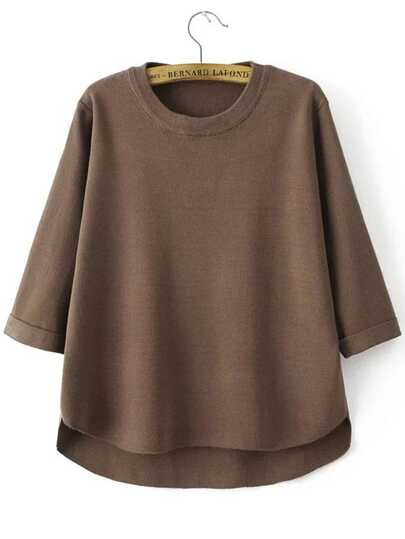 Coffee Crew Neck Three Quarter Sleeve Dip Hem Sweater