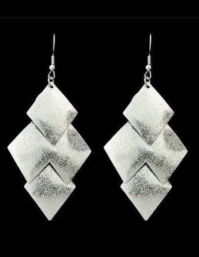 Silver Plated Geometric Drop Earrings