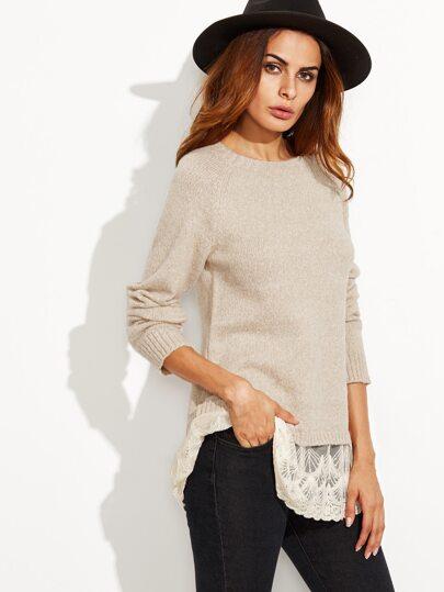 Apricot Lace Trim Raglan Sleeve Sweater
