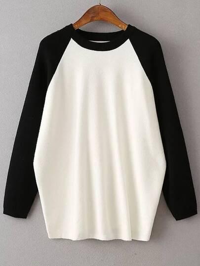 Black Contrast Raglan Sleeve Ribbed Trim Knitwear