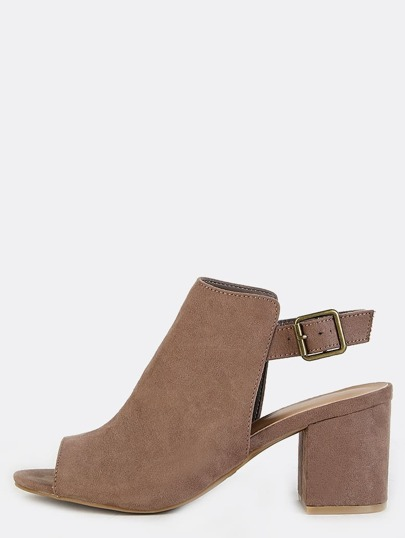 Block Heel Slingback Mule Boots TAUPE