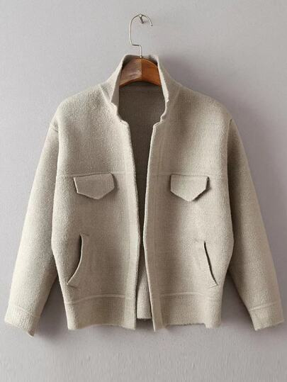 Grey Long Sleeve Jacket Sweater With Pockets