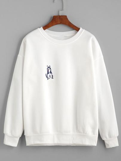 White Drop Shoulder Dog Embroidered Sweatshirt