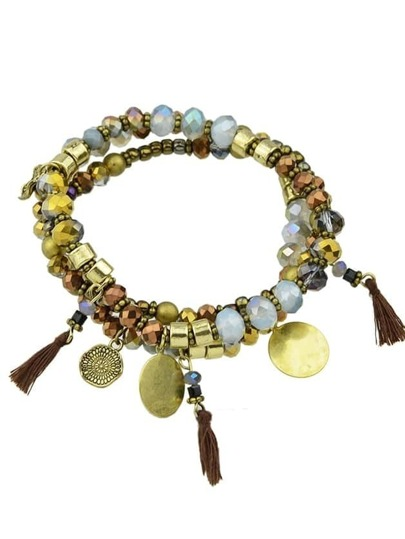 Antique Gold Vintage Style Multilayers Beads Tassel Chain Bracelets