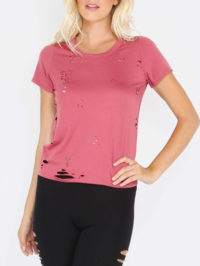 Burgundy Short Sleeve Distressed Backless T-shirt