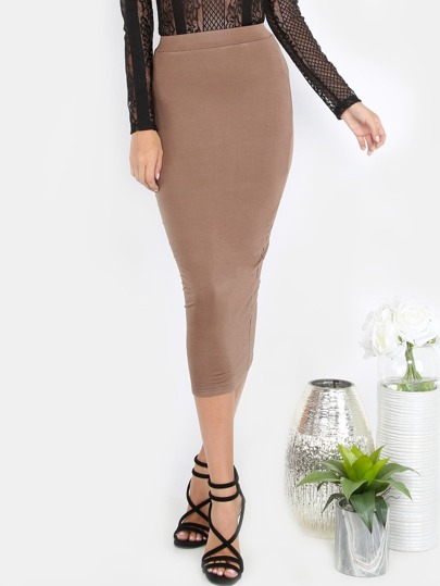 Coffee Midi Pencil Skirt