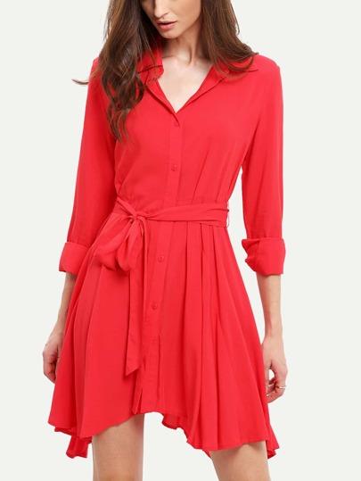 Red Lapel Asymmetric Dress