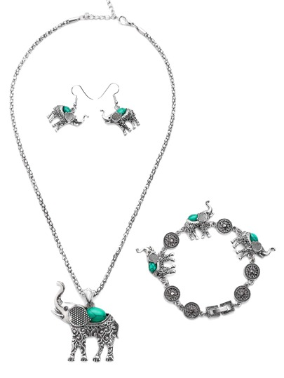 Silver Turquoise Encrusted Elephant Jewelry Set