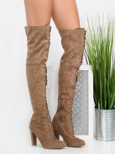 Botas altas con cordón-gris pardo