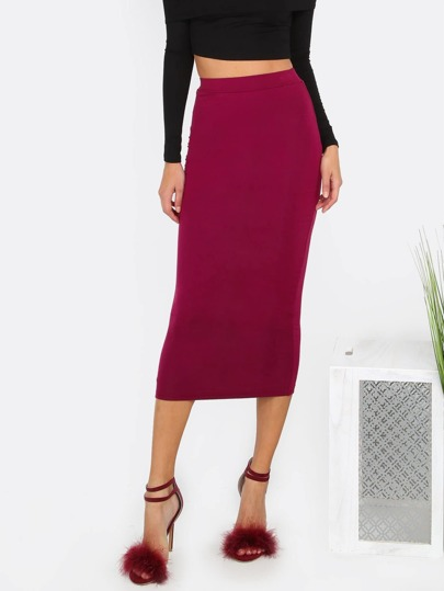 Burgundy High Waist Sheath Midi Skirt