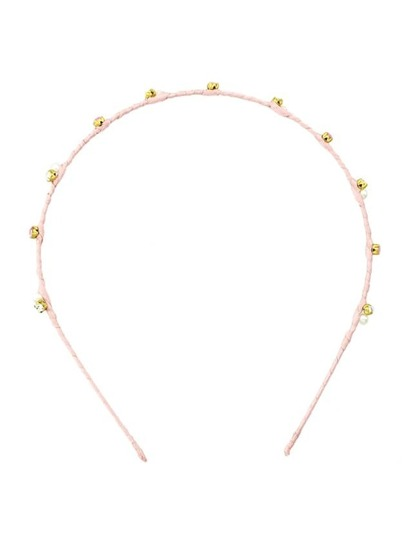 Pink Cute Pearl And Rhinestone Thin Hair Band