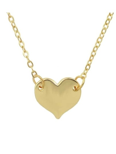 Gold Simple Model Metal Heart Pendant Necklace