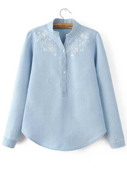 Blue Embroidery Band Collar Scalloped Hem Denim Blouse