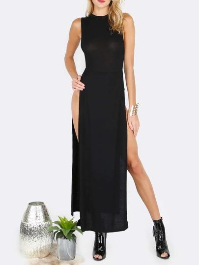 Black Split Side Sleeveless Maxi Dress