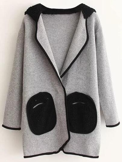 Grey Hidden Button Hooded Sweater Coat With Cute Pockets