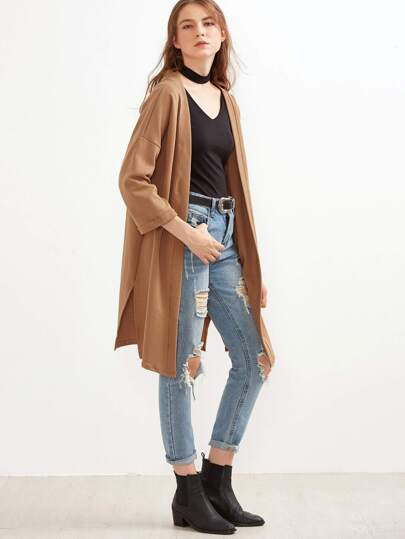 Khaki Slit Side Cuffed Long Cardigan