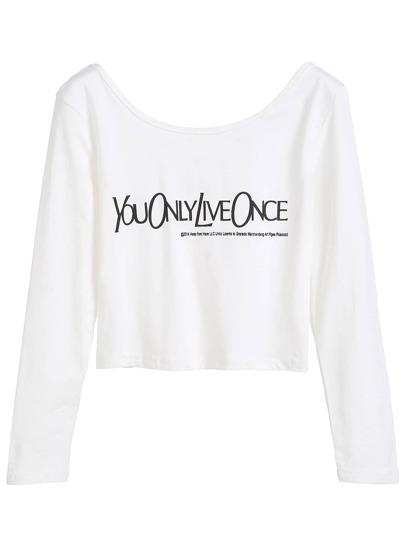 White Letter Print Crop T-shirt