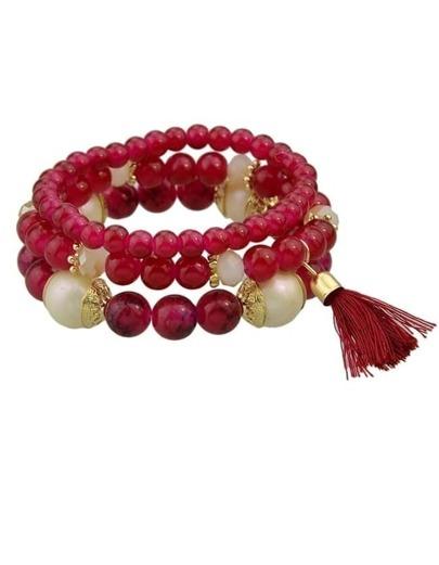 Red Elastic Beads Bracelet