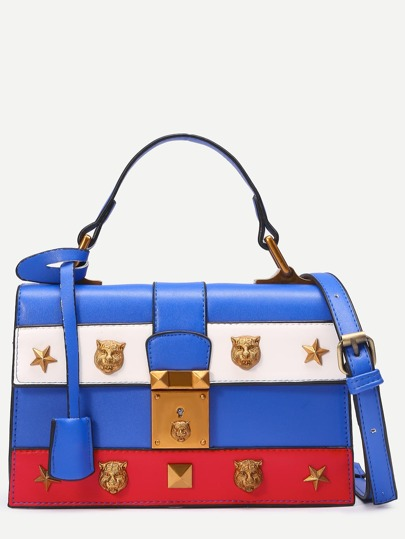 Blue Animal Head Studded Satchel Bag
