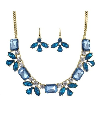 Blue Rhinestone Flower Jewelry Set